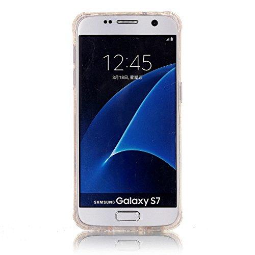 Galaxy S7 Funda, Sunroyal Carcasa Silicona TPU Gel para Samsung S7 Semi-Transparente Glitter Ultra Slim Concha Anti-Arañazos Amortiguar los Choques Borrar Espalda Caja del Teléfono Diseño Dibujos Cove B-08