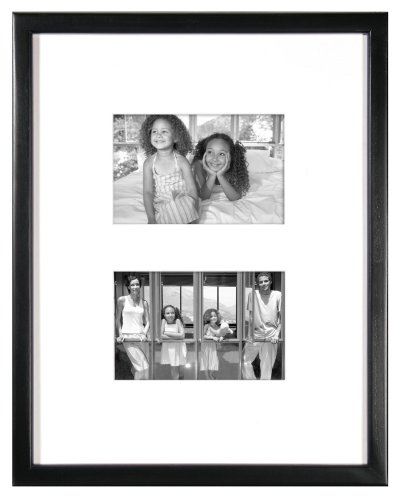 MCS 11x14 Inch East Village Collage Frame with 2-4x6 Inch Mat Openings, Black (29020)