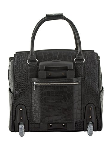 ''The Classic'' Black Alligator Crocodile Rolling iPad Tablet or Laptop Tote Carryall Bag by JKM and Company (Image #2)