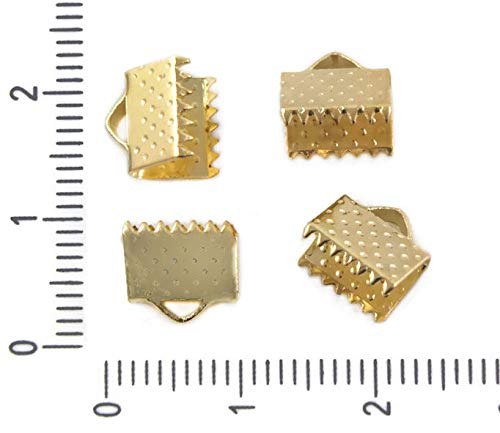 (40pcs Gold Plated Rectangle Crimp End Ribbon Cord Caps for Bracelet Jewelry Making Clasps Metal Findings 6mm)