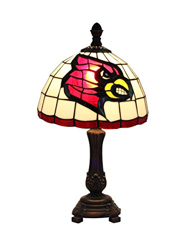Yogoart 9-inch NCAA Louisville Cardinals Stained Glass Table Lamp 16-inch Total - Lamp Louisville Table Glass