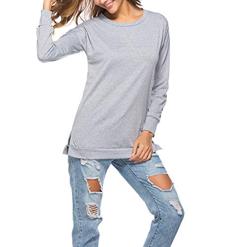 Gris et Pulls Tops Couleur Automne Shirts Blouse Col Clair Femmes Rond Manches Longues Printemps Fashion Shirts Tees Unie Jumpers T Sweat Hauts qTnRE