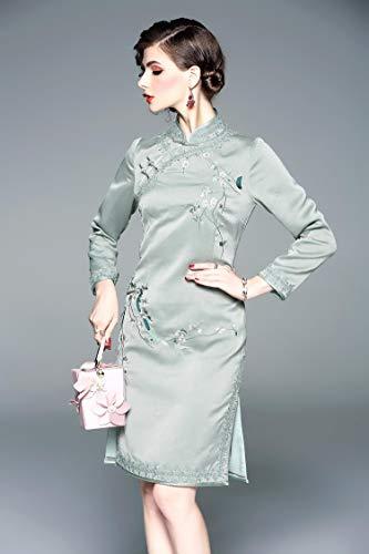 Ladies Elegante Qípáo A Dress Vestido Shanghai Noble Seasons Estilo Bordado Chinese Cheongsam Antiguo Wtug® Mano Exquisito Four TwW1AqxH