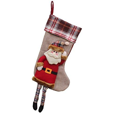 Price comparison product image Peitero(3 Pack) Classic Christmas Stockings Cute Santa's Toys Stockings Plush 3D Applique Style Felt Christmas Stockings, Snowman
