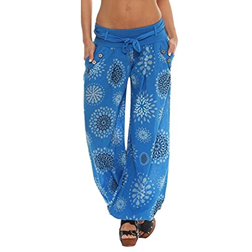 BOLUOYI Workout Yoga Pants for Women,Women's Yoga Clothing,Womens Loose Print Ladies Pocket Hareem Full Length Pants Trouser Wide Leggings,Blue,3XL