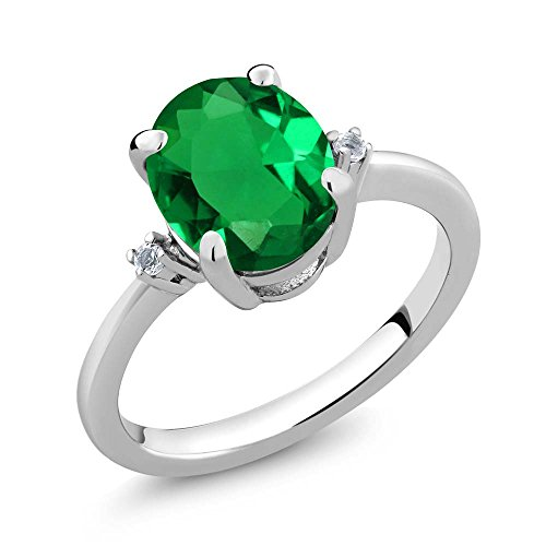 (2.19 Ct Oval Green Nano Emerald White Topaz 925 Sterling Silver 3-Stone Women's Ring (Size 6))