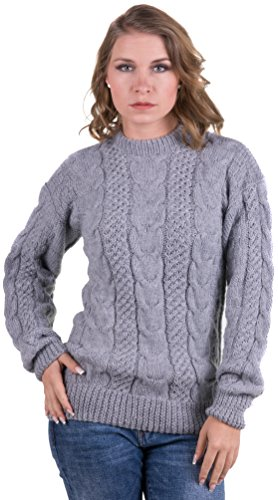 (Gamboa Silver Alpaca Sweater Pullover Cable Knit for Women)