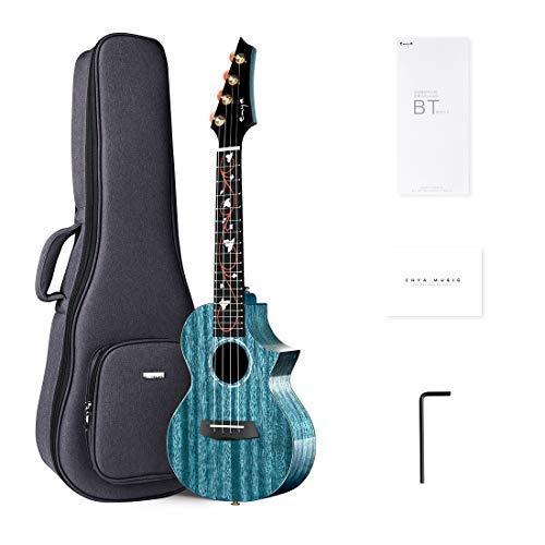 (Enya EUT-M6 Cutaway Blue Tenor Ukulele 26 Inch All Solid Mahogany with DAddario Strings,Luxury Gig bag,Beautiful Inlay and Gloss Finish)