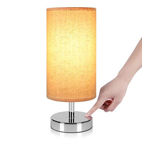 Touch Control Nightstand Lamp, Ambimall Bedside Table & Modern Accent Desk Lamp with Cylinder Shaped Natural Fabric Shade, Minimalist Table Lamps Perfect for Bedroom/Living Room(No Bulb Included)