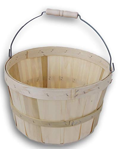 Fruit Vegetable Handle - Round Wooden 3/4 Peck Basket Garden, Farm, Fruit, Vegetable Picking Country Basket with Wire Bail/Wood Handle - 11'' Diameter and 7'' Tall