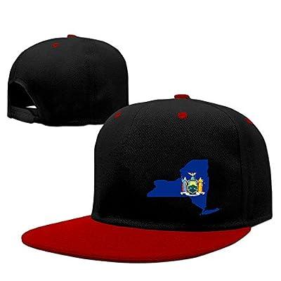 WellShopping The United States Flag Map Of New York Solid Flat Bill Snapback Baseball Cap Hip Hop Unisex Custom Hat.