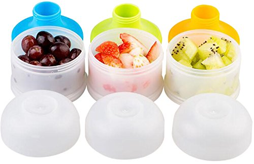 Kidsmile Portable Spill-Proof Baby Snack Containers 3 Piece Set, Reusable Baby Snack Catchers with Travel Lid, Twist-Lock Formula Dispenser Set, Baby Food Storage Jars, Freezer & Microwave Safe