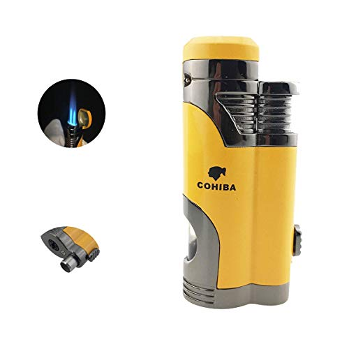 Cigar Torch Lighter with Punch Windproof Double Flame Cigarette Lighters High Quality 2 Jet Flame Butane Refillable Inflatable (Torch Lighter Punch)