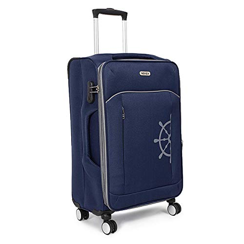 NOVEX Polyester Cabin Size Soft Spinner 4 Wheel Trolley Luggage  Blue, 20 #34;