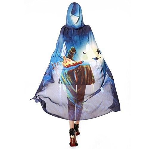 VESNIBA Halloween/Party Prop Novelty Print Chiffon Butterfly Wing Cape Scarf Peacock Poncho Shawl Wrap (140x100CM, A-Blue-Halloween) -