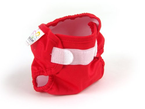 Real Nappies Snug Wrap Diaper Cover, Red, Newborn Size, for babies up to 12 weeks, 5-13 lb