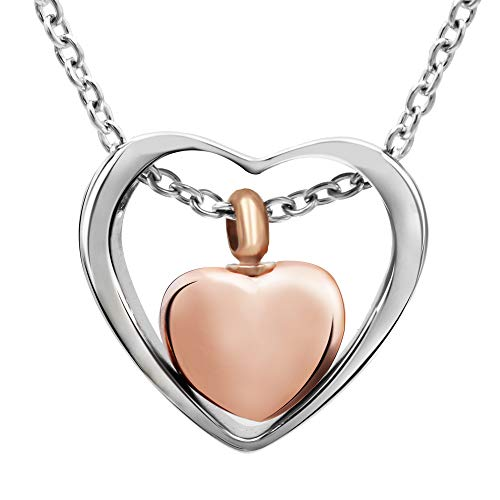 Double Heart Urn Necklace for Ashes - Cremation Jewelry Memorial Keepsake Pendant - Funnel Kit Included (Rose Gold)
