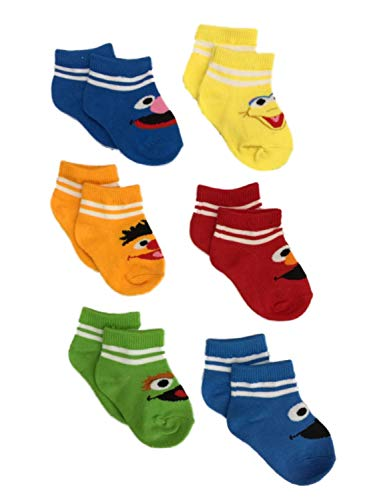 Sesame Street 6 Pair Infant Boys Elmo Big Bird Cookie Monster Baby Socks 6-12m ()