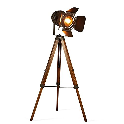 Decoluce Vintage Tripod Floor Lamp,Nautical Teatre Retro Spotlight,Industrial Decor Wooden Light Fixtures,Cinema Movie Props,(Without Edison light bulbs) ()