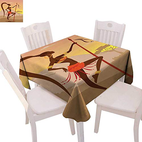 cobeDecor African Dinner Picnic Table Cloth Savannah Lady Like Amazon Girl Standing for Hunt Safari Style Retro Folk Print Waterproof Table Cover for Kitchen 70