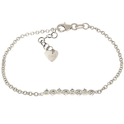 QP bijoutier aigues-marines naturelles pour femme Bracelet en or blanc 9 carats-ronde - 5088W 1.55ct