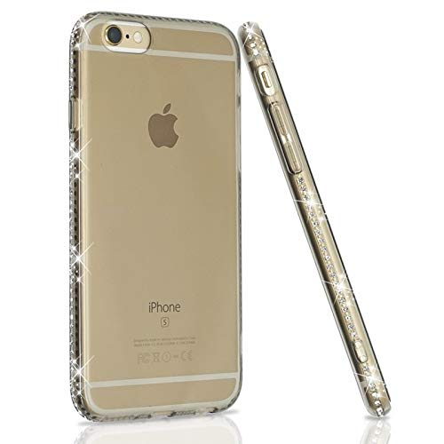 e8581d8fb06 Amazon.com  1 piece Ascromy for iphone 5s Case Clear Transparent Luxury  Rhinestone Case for iphone 5 S SE 7 Thin Back Crystal Diamond Soft TPU Cover   ...