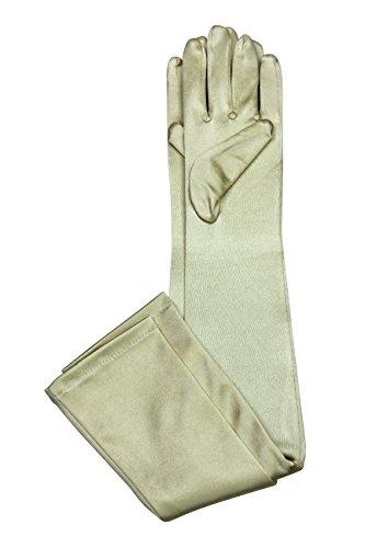 Elegant Stretch Satin Long Fabric Gloves - Opera/Full Length - Size: 23
