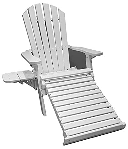 Ultimate All-Weather Adirondack Combo Chair with pull out Ottoman and foldout Side Table - Bright (Adirondack Chairs With Ottoman)