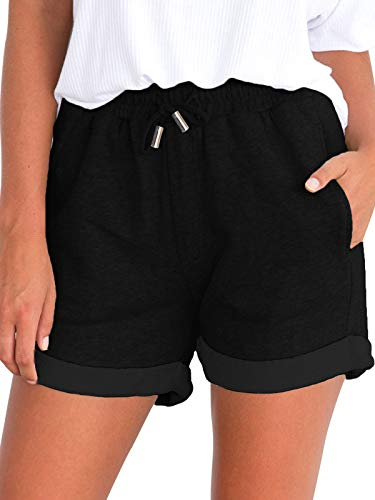 Govc Women's Juniors Shorts Casual Summer Elastic Waist Beach Shorts with Drawstring(Black,L)