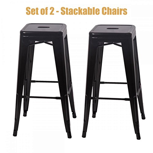 Classic Style Office Dining Room Chair Stackable Backless Solid Metal Seat Indoor Outdoor Set Of 2 Bar Stools - Black (Escape Bar Stool Set)