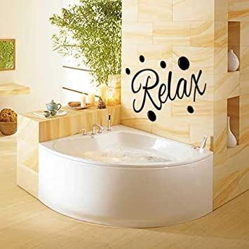large relax with 6 x bubbles bathroom wall art sticker 081 uk wall stickers