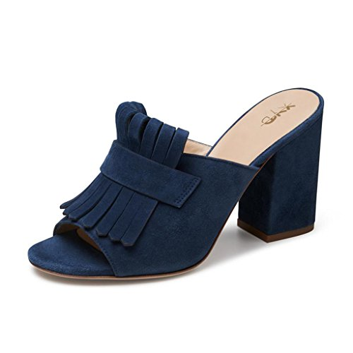 Xyd Cocktail Party Mule Shoes Donna Tacco Alto A Punta Aperta Slip On Sandali Estivi Blu Scuro