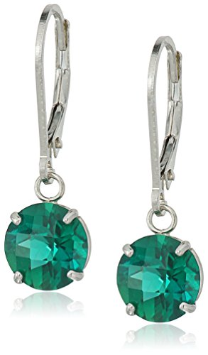 Emerald Cut Checkerboard (Sterling Silver Round Checkerboard Cut Created Emerald Leverback Earrings (8mm))