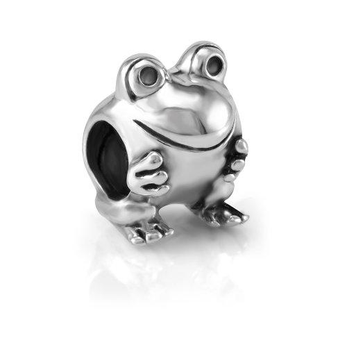 925 Sterling Silver Smiling Frog Bead Charm Fit Major Brand Bracelet