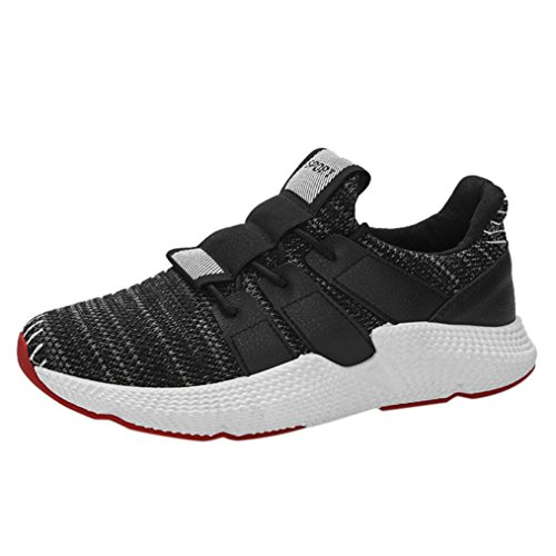 HLHN Men Running Shoes,Gym Embroider Lace-Up Cross Strap Sport Mesh Breathable Casual Fashion Leisure Black