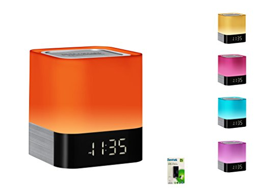 Portable Bluetooth Speaker + Music Reactive Multi-color LED Night Light , with LED Display, Handsfree Speakerphone, Alarm Clock, Micro SD Card & USB & AUX Slots for Smart Phone, MP3, iPad and Tablet