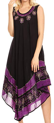 Sakkas A900 Batik Flower Caftan Tank Dress/Cover Up - Black/Purple - One Size