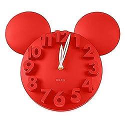 GCA Modern Design Big Digit 3D Wall Clock Home Decor Decoration (Red)