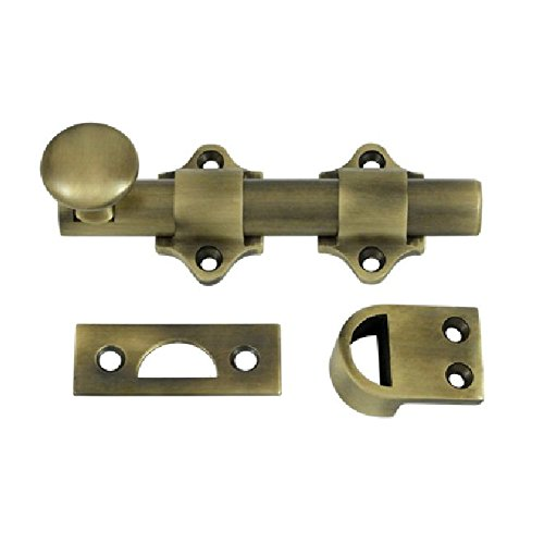 Deltana DDB425U5 HD Solid Brass 4-Inch Dutch Door Bolt (Antique Brass Bolt)