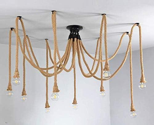Retro Style 10 Heads Pendant Light Hemp Rope Chandelier Vintage Ceiling Light Industrial Iron Metal Ceiling Lamp Edison E27 Loft