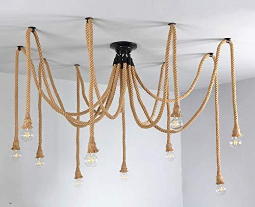 Retro Style 10 Heads Pendant Light Hemp Rope Chandelier Vintage Ceiling Light Industrial Iron Metal Ceiling Lamp Edison E27 Loft (Chandelier Rope Nautical)