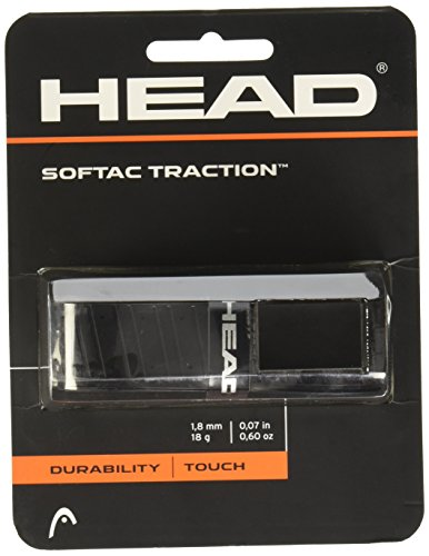 HEAD SofTac Traction Tennis Racket Replacement Grip - Tacky Racquet Handle Grip Tape - Black