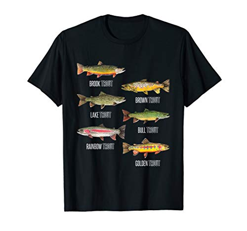Types of Trout Fish Species Fishing Gift T-Shirt