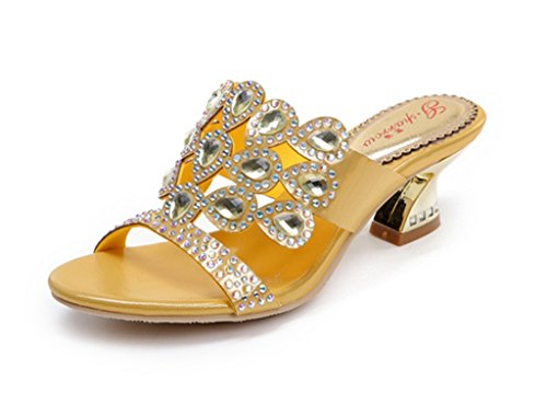 CRC Womens Unique Sparrow Sparkle Rhinestone Microfiber Material Prom Wedding Party Sandals Slippers Gold NPzFP
