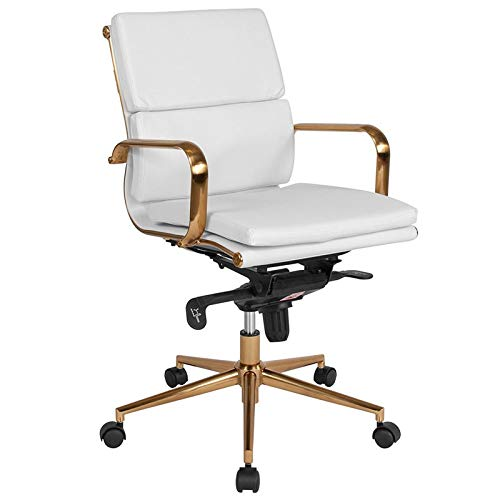 Flash Furniture BT-9895M-WH-GD-GG Leather Executive Swivels, White Gold Frame