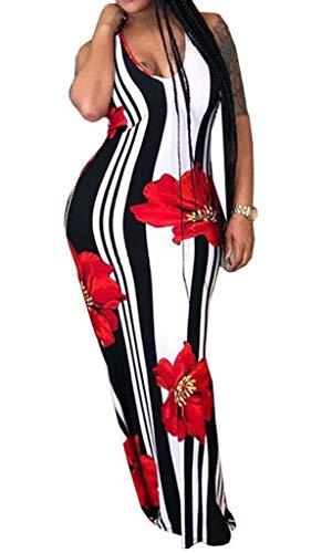 Bodycon4U Womens Floral Bodycon Maxi Dress Striped Boho V Neck Nursing Nautical Long Sundress Plus Size Red 2XL