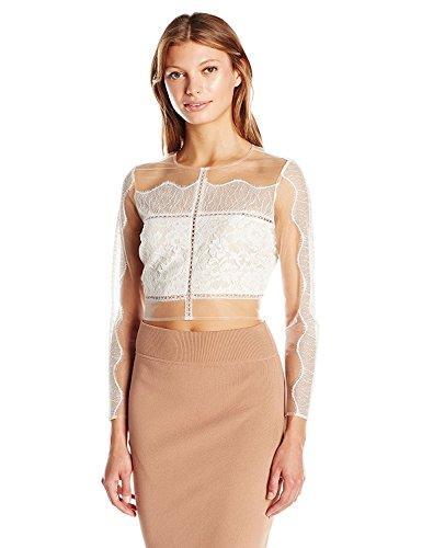禁輸全部変化するKENDALL + KYLIE Women's Paneled Lace L/s Top White S [並行輸入品]