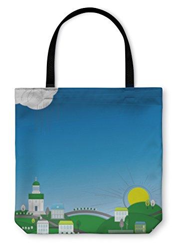 te Hand Bag, Abstract City Landscape, 16x16, 5997841GN (Medium Alley Shoulder Bag)