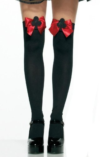 Leg Avenue Women's Opaque Thigh High Stockings with Satin Bow And Club Symbol, Black/Red, One (Satin Opaque Thigh Highs)