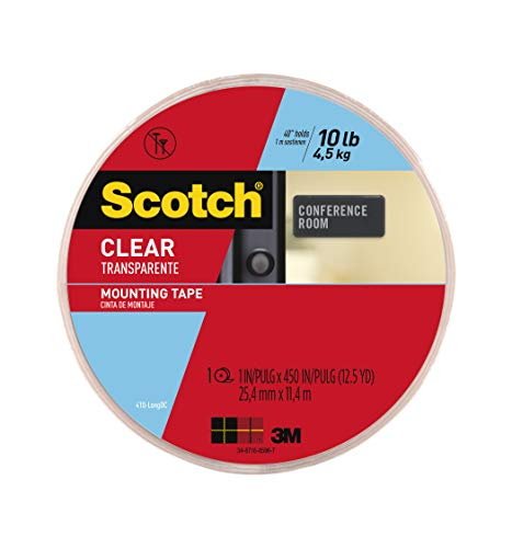 Scotch Clear Mounting Tape, 1-inch x 450-inches, 1-Roll (410-LONG) ()